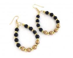 Black Gold Pearl Teardrop Gold Hook Earrings