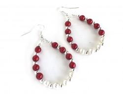Red White Pearl Teardrop Silver Hook Earrings