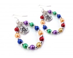 Multi Flower Pearl Teardrop Silver Hook Earrings