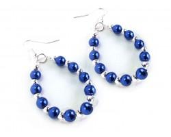 Blue White Pearl Teardrop Silver Hook Earrings