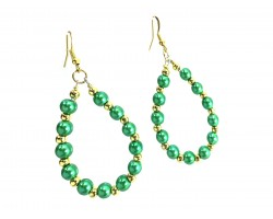 Green Pearl Teardrop Gold Hook Earrings