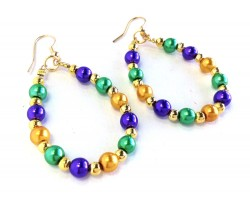 Mardi Gras Pearl Teardrop Gold Hook Earrings