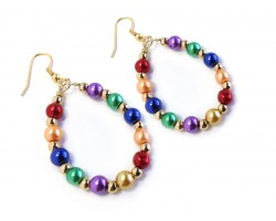 Multi Pearl Teardrop Gold Hook Earrings
