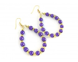 Purple Gold Pearl Teardrop Gold Hook Earrings