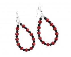 Red Black Pearl Teardrop Silver Hook Earrings