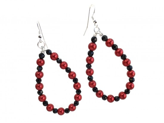 Red Black Pearl Teardrop Silver Hook Earrings