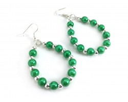 Green Pearl Teardrop Silver Hook Earrings