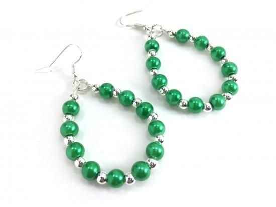 Green Pearl Teardrop Silver Hook Earrings