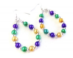 Mardi Gras Pearl Teardrop Silver Hook Earrings