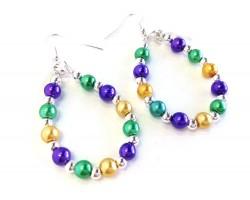 Mardi Gras Pearl Teardrop Silver Hook Earrings