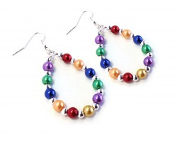 Multi Pearl Teardrop Silver Hook Earrings