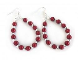Red Pearl Teardrop Silver Hook Earrings