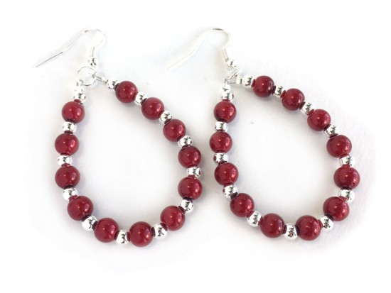 Red Pearl Teardrop Silver Hook Earrings