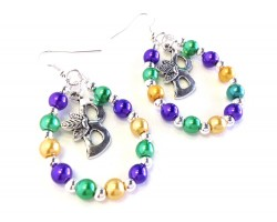 Mardi Gras Mask Pearl Teardrop Silver Hook Earrings