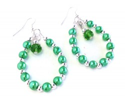 Green Pearl Crystal Teardrop Silver Hook Earrings