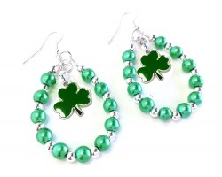 Green Pearl Clover Teardrop Silver Hook Earrings