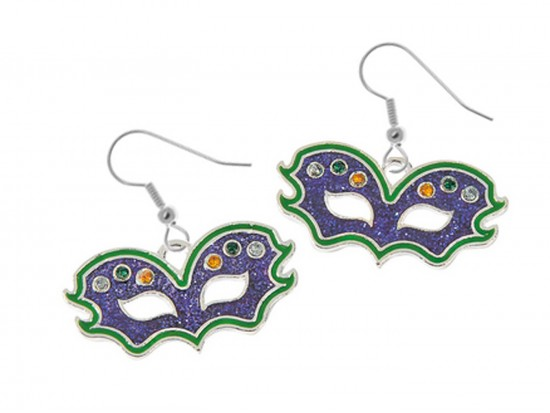 Mardi Gras Colored Mask Hook Earrings