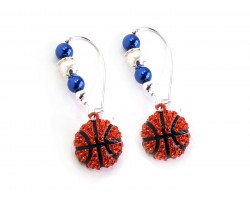 Blue White Basketball Pearl Loop  Earrings