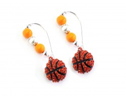 Orange White Basketball Pearl Loop  Earrings