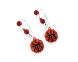 Red White Basketball Pearl Loop  Earrings