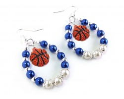 Blue White Basketball Pearl Teardrop Hook Earrings