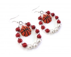 Red White Basketball Pearl Teardrop Hook Earrings