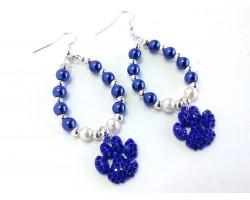 Blue White Pearl Paw Print Teardrop Hook Earrings