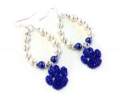 White Blue Pearl Paw Print Teardrop Hook Earrings