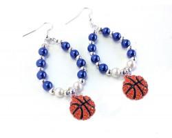 Blue White Basketball Teardrop Hook Earrings