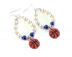 White Blue Basketball Teardrop Hook Earrings