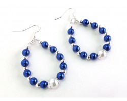 Blue White Pearl Teardrop Silver Hook Earrings
