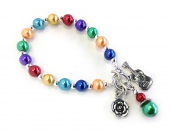 Multi Colored Bead Guitar Flower Stretch Toggle Bracelet