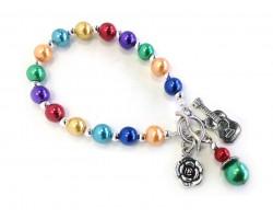 Multi Colored Bead Guitar Flower Stretch Toggle Bracelet