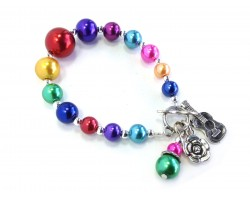 Multi Graduated Bead Guitar Flower Stretch Bracelets