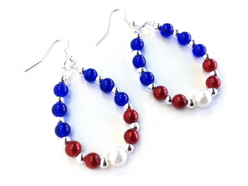 Red White Blue Beaded Teardrop Hook Earrings