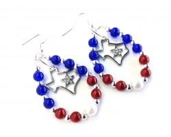 Texas Star Map Beaded Teardrop Hook Earrings