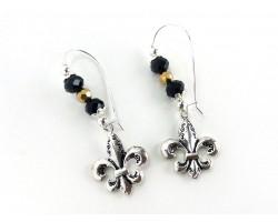 Black Silver Fleur De lis Crystal  Loop Earrings