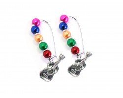 Multi Colored Pearl Bead Guitar Loop Earrings