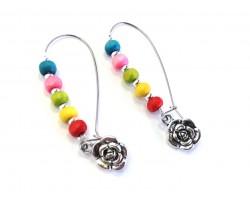 Multi Colored Wood Bead Flower Loop Earrings