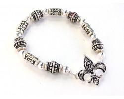 Silver Fleur de Lis Barrel Bead Stretch Bracelet