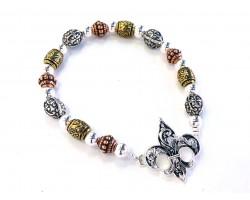 Tricolor Fleur de Lis Bead Stretch Bracelet