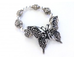 Silver Butterfly Barrel Bead Stretch Bracelet