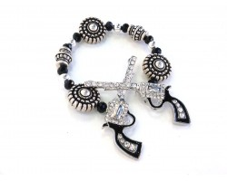 Silver Crystal Crossed Pistols Stretch Bracelet