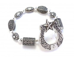 Silver Horseshoe Star Barrel Bead Stretch Bracelet