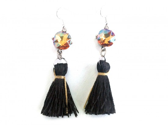 Black Tassel Gold Crystal Silver Hook Earrings