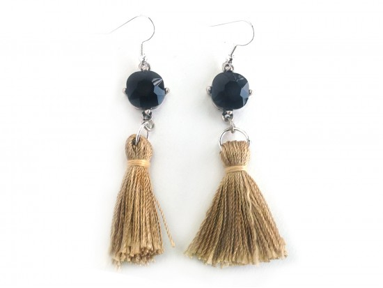 Gold Tassel Black Crystal Silver Hook Earrings