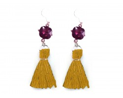 Gold Tassel Purple Crystal Silver Hook Earrings