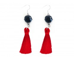 Red Tassel Black Crystal Silver Hook Earrings