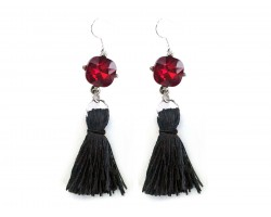 Black Tassel Red Crystal Silver Hook Earrings