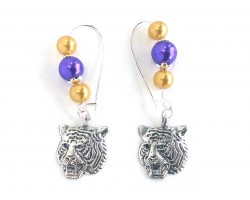 Purple Gold Pearl Tiger Kidney Wire Earrings